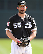 GLENDALE, ARIZONA - MARCH 02:  Carlos Rodon #55 of the Chicago White Sox looks on against the Colorado Rockies on March 2, 2019 at Camelback Ranch in Glendale Arizona.  (Photo by Ron Vesely)  Subject:  Carlos Rodon