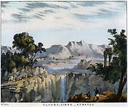 Cirro-Stratus clouds, often seen preceding rain. Coloured lithograph 1845.