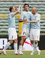 Fotball<br /> Italia Serie A<br /> Foto: Inside/Digitalsport<br /> NORWAY ONLY<br /> <br /> Massimo Mutarelli, Valon Behrami and Tommaso Rocchi (Lazio) celebrate at the end of the match<br /> <br /> 6 May 2007 (Match Day 35)<br /> <br /> Lazio v Livorno (1-0)