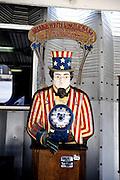 Novelty penny arcade Uncle Sam game. Battleship Missouri Memorial, Pearl Harbour, Hawaii