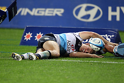 Lachie Turner drops the ball over the line. Investec Super Rugby - Blues v Waratahs, Eden Park, Auckland, New Zealand. Saturday 16 April 2011. Photo: Clay Cross / photosport.co.nz