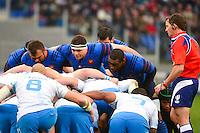 Nicolas MAS / Guilhem GUIRADO / Eddy BEN AROUS - 15.03.2015 - Rugby - Italie / France - Tournoi des VI Nations -Rome<br /> Photo : David Winter / Icon Sport