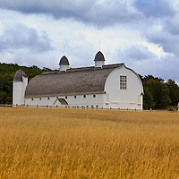 """""""The White Barn""""<br /> <br /> Beautiful rural Michigan barn and golden field in early autumn!!<br /> <br /> Autumn Landscapes by Rachel Cohen"""