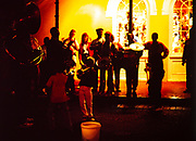 Jazz group busking on sidewalk in French Quarter, New Orleans, Louisiana, USA 1989