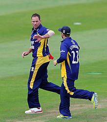 Durham's John Hastings and Mark Stoneman celebrate the wicket of Somerset's Tom Abell - Photo mandatory by-line: Harry Trump/JMP - Mobile: 07966 386802 - 29/07/15 - SPORT - CRICKET - Somerset v Durham - Royal London One Day Cup - The County Ground, Taunton, England.