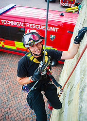 Fire Fighter Darren Monette of the South Yorkshire Fire Service Technical Rescue Unit demonstrates Abseiling Techniques at Aston Park fire station open day on Saturday<br /> <br /> 13 August 2011 Image <br /> <br /> http://www.pauldaviddrabble.co.uk<br /> All Images Copyright Paul David Drabble - <br /> All rights Reserved - <br /> Moral Rights Asserted -