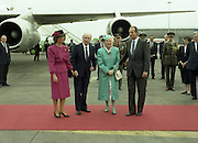 State Visit of King Juan Carlos and Queen Sophia of Spain to Ireland.<br /> 1986.<br /> 30.06.1986<br /> 06.30.1986.<br /> 30th June 1986.<br /> King Juan Carlos and Queen Sophia paid a state visit to Ireland at the invitation of President Hillery and the Irish people.<br /> The duration of the visit was three days.<br /> <br /> Image of King Juan Carlos and Queen Sophia being officially welcomed to Ireland by President Patrick Hillery and his wife Maeve.