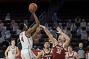 Southern California Trojans forward Evan Mobley (4) shoots over Stanford Cardinal forward Lukas Kisunas (32) during an NCAA men's basketball game, Wednesday, March 3, 2021, in Los Angeles. USC defeated Stanford 79-42. (Jon Endow/Image of Sport)