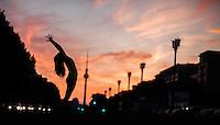 Meg Evans in front of Alexanderplatz, Berlin