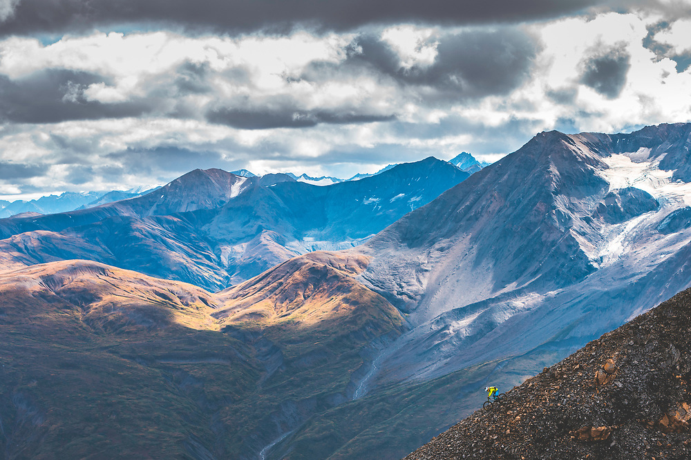 Darren Berrecloth rides down a previously untouched slope in the Tatshenshini-Alsek Provincial Park in British Columbia, Canada on September 3, 2016.