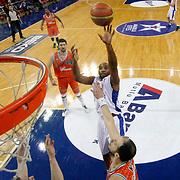 Anadolu Efes's Alfred Jamon Lucas (C) during their BEKO Basketball League match Anadolu Efes between Banvit at Abdi Ipekci Arena in Istanbul Turkey on Sunday 05 January 2014. Photo by TURKPIX
