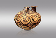 Minoan decorated stirrup jar with swirl design, Zakros Palace  1500-1400 BC; Heraklion Archaeological  Museum, grey background. .<br /> <br /> If you prefer to buy from our ALAMY PHOTO LIBRARY  Collection visit : https://www.alamy.com/portfolio/paul-williams-funkystock/minoan-art-artefacts.html . Type -   Heraklion   - into the LOWER SEARCH WITHIN GALLERY box. Refine search by adding background colour, place, museum etc<br /> <br /> Visit our MINOAN ART PHOTO COLLECTIONS for more photos to download  as wall art prints https://funkystock.photoshelter.com/gallery-collection/Ancient-Minoans-Art-Artefacts-Antiquities-Historic-Places-Pictures-Images-of/C0000ricT2SU_M9w