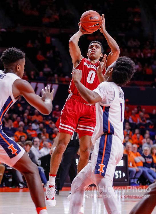 CHAMPAIGN, IL - JANUARY 23: D'Mitrik Trice #0 of the Wisconsin Badgers shoots the ball during the game against the Illinois Fighting Illini at State Farm Center on January 23, 2019 in Champaign, Illinois. (Photo by Michael Hickey/Getty Images) *** Local Caption *** D'Mitrik Trice