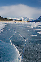 Abstract patterns in the wind polished ice of Abraham Lake, Alberta Canada