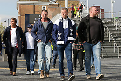 © Licensed to London News Pictures. 03/04/2019. London, UK. Spurs fans arrive at their £400 million new stadium as Tottenham Hotspurs play their first competitive game against Crystal Palace this evening. Photo credit: Dinendra Haria/LNP
