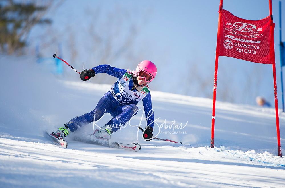 Francis Piche Invitational U12 girls first run with Gunstock Ski Club.  <br /> ©2017 Karen Bobotas Photographer