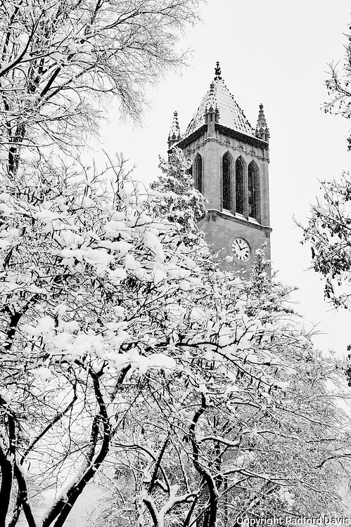 Campanile in winter, Iowa State University campus
