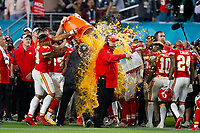 Kansas City Chiefs head coach Andy Reid gets doused with Gatorade during an NFL Super Bowl LIV football game against the San Francisco 49ers, Sunday, Feb. 2, 2020 in Miami Gardens, Fla.<br /> <br /> ( Tom DiPace via AP)
