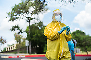 SAN ANTONIO, TX – JULY 22, 2020:  Healthcare workers led by Dr. Nora Garza, MD, PA, FAAFP use Athenahealth to continue serving patients at Garza Medical Group during the global coronavirus pandemic.