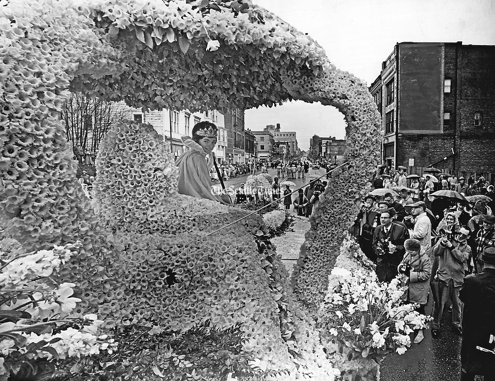 Gail Belknap of Tacoma, queen of the 30th Puyallup Valley Daffodil Festival. Shutterbugs, amateur and professional using still- and motion picture-cameras surrounded Her Majesty, while she smiled over her regal shoulder as the parade formed on Broadway. (Vic Condiotty / The Seattle Times, 1963)