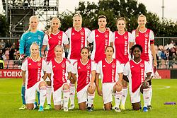 (BL-R) goalkeeper Marieke Ubachs of Ajax women, Line Røddik Hansen of Ajax women, Kelly Zeeman of Ajax women,n Kay-Lee Sanders of Ajax women, Ellen Jansen of Ajax women, Loïs Schenkel of Ajax women (FL-R) Kika van Es of Ajax women, Ilna Reetta Salmi of Ajax women, Vanity Lewerissa of Ajax women, Soraya Verhoeve of Ajax women, Liza van der Most of Ajax women during the UEFA Women's Champions League match between Ajax Amsterdam and Sparta Praag at Sportpark De Toekomst on September 12, 2018 in Amsterdam, The Netherlands