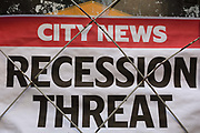 Detail of an Evening Standard newspaper headline for Friday 30th August, speaking of economic uncertainty and the treat of recession over a possible No-deal Brexit between British Prime Minister Boris Johnsons government and the European Union, in the City of London, aka The Square Mile the capitals financial district, on Monday 2nd September 2019, in London, England.