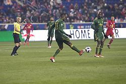 March 10, 2018 - Harrison, New Jersey, United States - Larrys Mabiala (33) of Portland Timbers controls ball during regular MLS game against New York Red Bulls at Red Bull Arena Red Bulls won 4 - 0 (Credit Image: © Lev Radin/Pacific Press via ZUMA Wire)