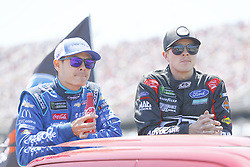 April 29, 2018 - Talladega, Alabama, United States of America - Kyle Larson (42) and Trevor Bayne (6) hang out on pit road before the GEICO 500 at Talladega Superspeedway in Talladega, Alabama. (Credit Image: © Chris Owens Asp Inc/ASP via ZUMA Wire)