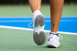 PORTOROZ, SLOVENIA - SEPTEMBER 16: A feature of shoes and tatoo by Tereza Martincova of Czech Republic competes during the 3rd Round of WTA 250 Zavarovalnica Sava Portoroz at SRC Marina, on September 15, 2021 in Portoroz / Portorose, Slovenia. Photo by Matic Klansek Velej / Sportida