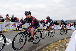 Alice Barnes approaches the top of the VAMberg at Drentse 8 van Westerveld 2018 - a 142 km road race on March 9, 2018, in Dwingeloo, Netherlands. (Photo by Sean Robinson/Velofocus.com)