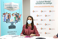 Queen Letizia of Spain attends a working meeting with the Spanish Mental Health Confederation at Headquarters of the Spain Mental Health Confederation on September 30, 2020 in Madrid, Spain