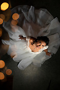 Bridal from above with twinkle lights photo by Brandon Alms Photography