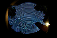 Star Trails Looking North. Composite of 146 images taken with a Nikon D800 camera and 10.5 mm f/2.8 fisheye lens (ISO 100, 10.5 mm, f/4, 120 sec).
