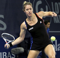 October 17, 2017 - Luxembourg, Luxembourg - PAULINE PARMENTIER of France in action against Monica Niculescu of Romania at the BNP Paribas Luxembourg Open. Parmentier won 2:0.  (Credit Image: © Panoramic via ZUMA Press)