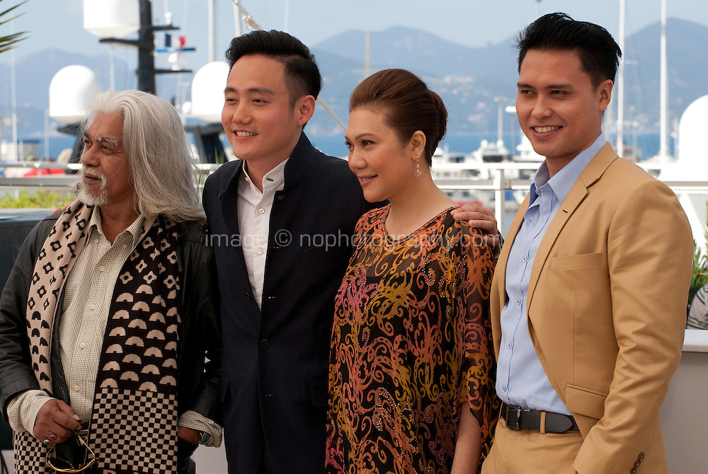 Actor Wan Hanafi Su, director Boo Junfeng, actor Firdaus Rahman and actress Mastura Ahmad at the Apprentice<br />  film photo call at the 69th Cannes Film Festival Monday 16th May 2016, Cannes, France. Photography: Doreen Kennedy