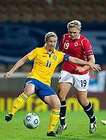 Victoria Svensson, Ingvild Isaksen, QF, Sweden-Norway, Women's EURO 2009 in Finland, 09042009, Helsinki Football Stadium