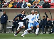 Guillermo Pando Ramírez (11), of Guatemala, chases the ball while being chased by teammate Martín Machón (7) and the United States' Frankie Hejduk (l) on Sunday, February 19th, 2005 at Pizza Hut Park in Frisco, Texas. The United States Men's National Team defeated Guatemala 4-0 in a men's international friendly.