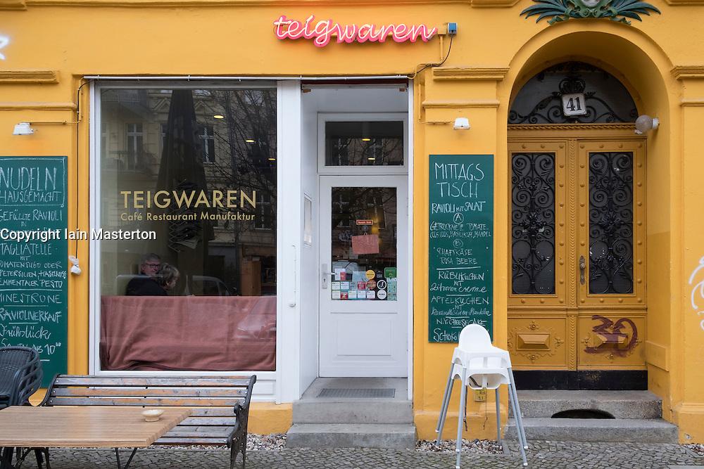 Exterior of Teigwaren cafe and restaurant in Prenzlauer Berg, Berlin, Germany