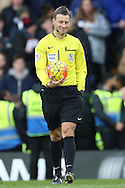 Referee Mark Clattenburg smiling. Barclays Premier league match, Chelsea v Stoke city at Stamford Bridge in London on Saturday 5th March 2016.<br /> pic by John Patrick Fletcher, Andrew Orchard sports photography.