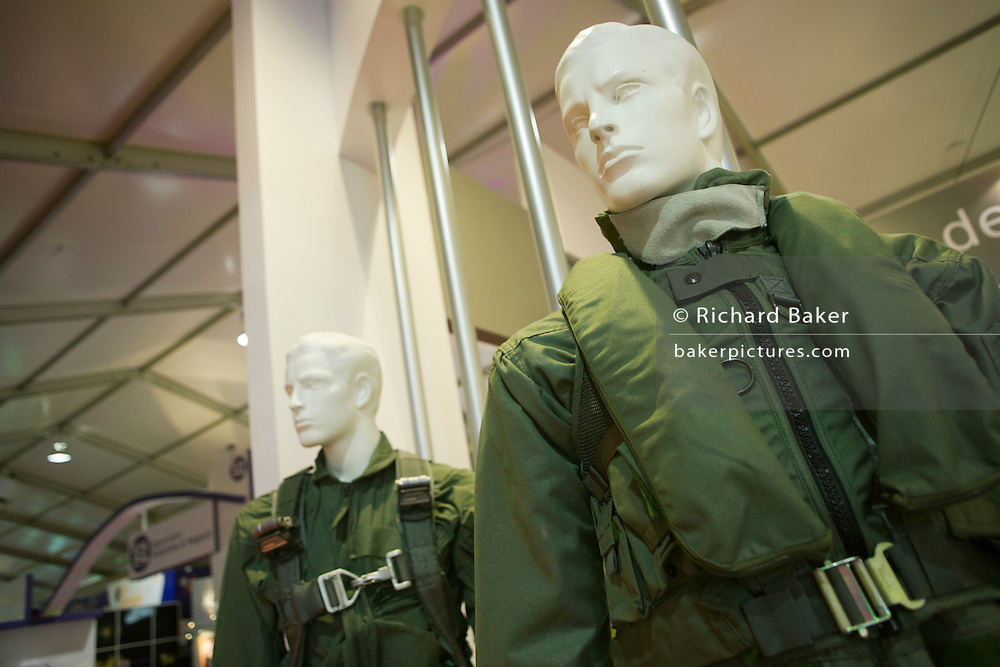 Military flight survival suits displayed by Transaero at the Farnborough Airshow.
