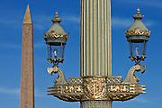 Streetlight and Obelisk of Luxor in Place de la Concorde, Paris, France