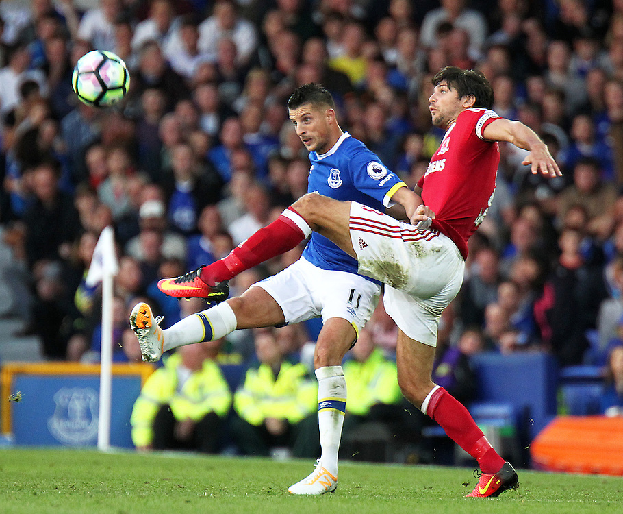 Everton's Kevin Mirallas vies for possession with Middlesbrough's George Friend<br /> <br /> Photographer Rich Linley/CameraSport<br /> <br /> The Premier League - Everton v Middlesbrough - Saturday 17th September 2016 - Goodison Park - Liverpool<br /> <br /> World Copyright © 2016 CameraSport. All rights reserved. 43 Linden Ave. Countesthorpe. Leicester. England. LE8 5PG - Tel: +44 (0) 116 277 4147 - admin@camerasport.com - www.camerasport.com
