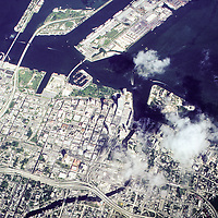 Captured from an Air Force C-130 aircraft, this 1988 view shows the city of Miami in 1988 before all the major high rise development.