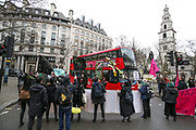 February 15, 2020, London, England, United Kingdom: Extinction Rebellion protesters on the Strand, London as part of a protest against London Fashion Week on Saturday, Feb. 15, 2020. (Photo/Vudi Xhymshiti)..Given the ecological consequences of fast fashion and the impact London Fashion Week has on consumption, the organisation says a boycott is the only way forward to help save our planet..In order to get their message across, the activists will be taking part in several protests during the five-day event in London. (Credit Image: © Vedat Xhymshiti/ZUMA Wire)