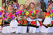 Traditional costumed folk dancers during the Day of the Dead Festival known in spanish as Día de Muertos on October 26, 2014 in Oaxaca, Mexico.