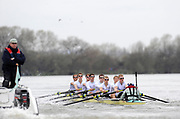 Putney, London,  Cambridge early strokes of the  156th University Boat Race  over  the Championship Course,  Putney to Mortlake. on Saturday  03/04/2010 [Mandatory Credit Peter Spurrier/ Intersport Images] <br /> <br /> CUBC Crew,  left to right, Bow - Rob WEITEMEYER, Geoff ROTH, George NASH, Peter McCELLAND, Deaglan McEACHERN, Henry PELLY, Derek RASMUSSEN, Stroke - Fred GILL and Cox - Ted RANDOLPH