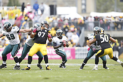 Philadelphia Eagles quarterback Michael Vick (7) in the pocket during the NFL game between the Philadelphia Eagles and the Pittsburgh Steelers on Sunday, October 7th 2012 in Pittsburgh. The Steelers won 16-13. (Photo by Brian Garfinkel)