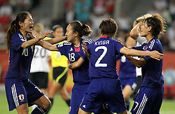 09-07-2011 VOETBAL: FIFA WOMENS WORLDCUP 2011 GERMANY - JAPAN: WOLFSBURG<br /> Torjubel Japan nach dem 1:0 durch Karina Maruyama (2.v.r./JPN) hier mit Homare Sawa , Yukari Kinga und Kozue Ando <br /> ***NETHERLANDS ONLY***<br /> ©2011-FRH- NPH/Karina Hessland