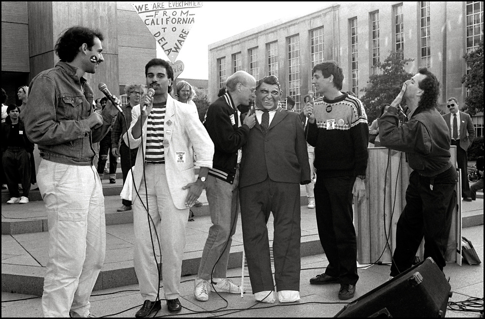The Flirtations perform at an action at The US Department of Health & Human Services in Washington DC on October 10, 1988, the day before the FDA action.<br /> <br /> The Flirtations were a pro-LGBT, male a cappella musical group active from 1988 to 1997. The original members were Jon Arterton, Michael Callen, Aurelio Font, TJ Myers, and Cliff Townsend. <br /> <br /> Michael Callen died from AIDS-related disease in 1993.