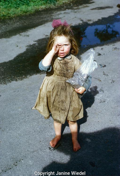 Irish Tinker girl in camp site.